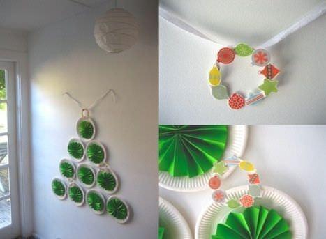 Manualidades fáciles para niños; árbol de Navidad hecho con platos