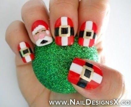 decoración de uñas de papa noel para navidad 2013