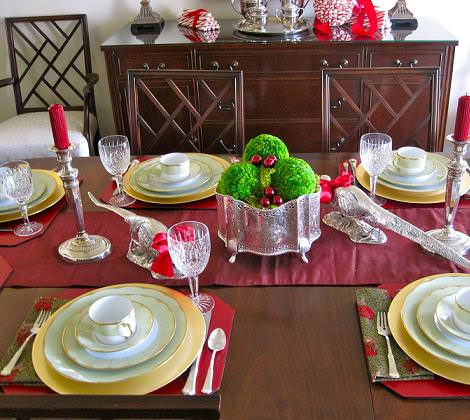 Centro de mesa peach con velas car interior design - Mesas decoradas para navidad ...