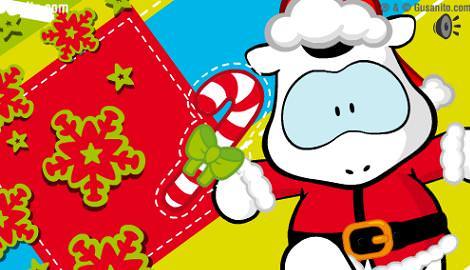 postal de navidad de gusanito