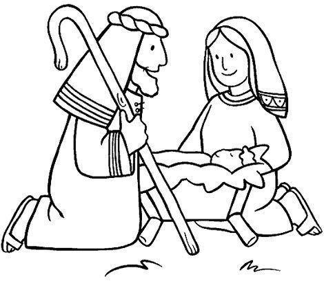 colorear belen dibujo jesus maria