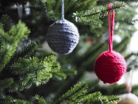 Bolas de Navidad de lana