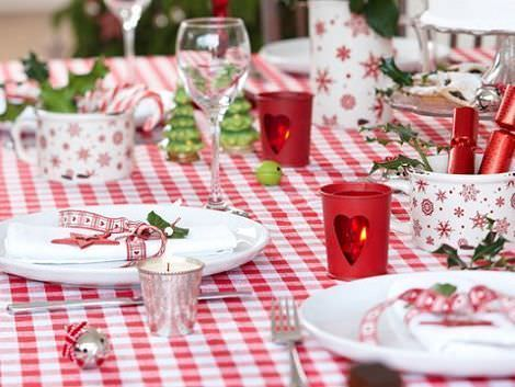 decoracion mesa navidad mantel