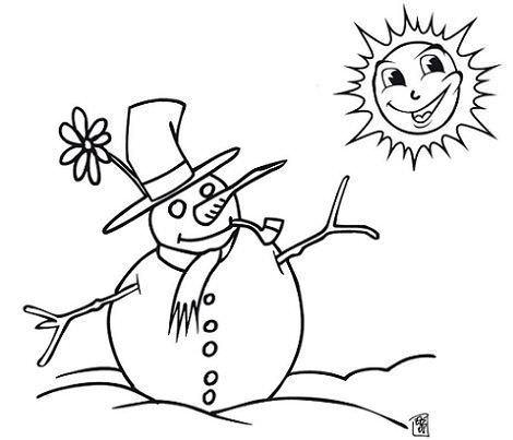 dibujos navidad colorear gratis muneco nieve