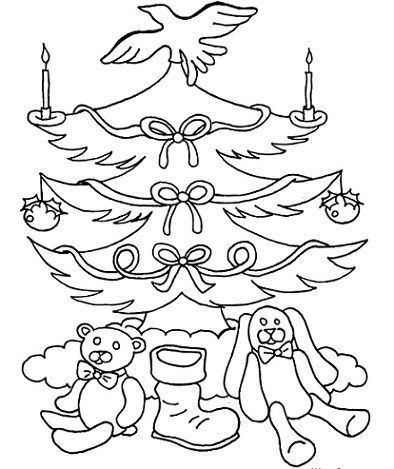 dibujos navidad colorear gratis papa noel arbol