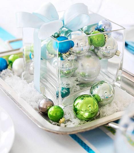 Centro de mesa bolas de Navidad