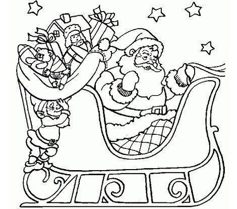 dibujos navidad colorear gratis trineo