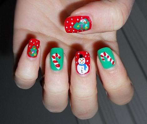 Uñas decoración de Navidad