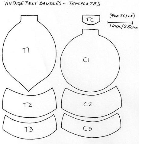 plantilla bolas de fieltro para el árbol de navidad