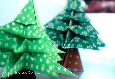 Árboles de Navidad papiroflexia