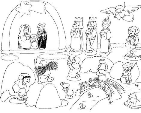 Dibujos del Portal de Belén para imprimir gratis