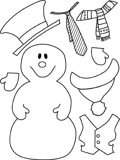 muñeco de nieve de navidad recortable para niños
