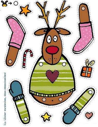 reno  de navidad recortable para niños