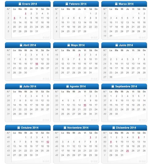 Calendario Del 2014 Para Imprimir