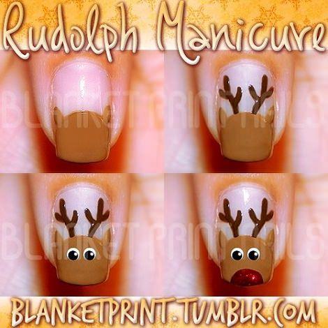 uñas decoradas de Navidad Renos