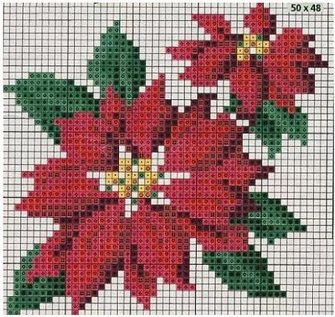 patron de punto de cruz de flor de pasuca de navidad