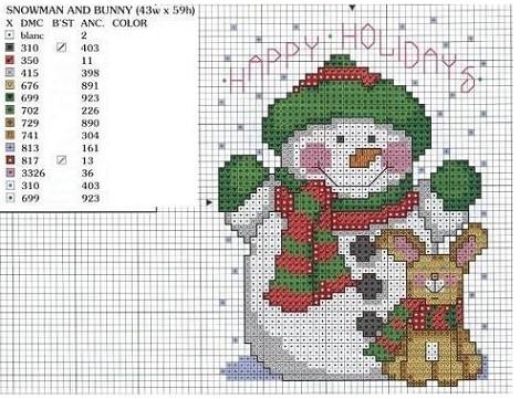 patrones de punto de cruz de navidad