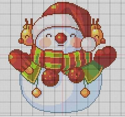 patrón gratis punto de cruz muneco nieve