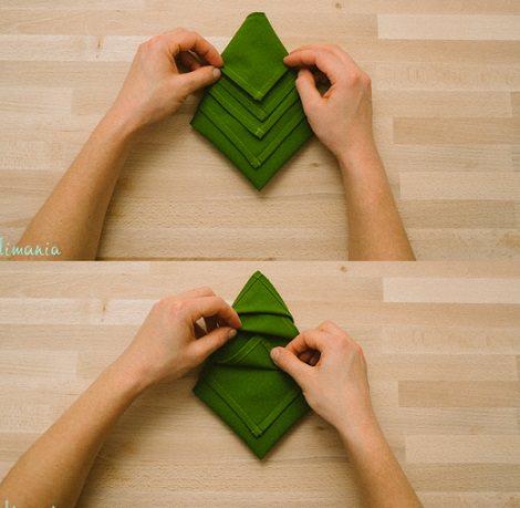 Servilleta con forma de rbol para decorar la mesa de navidad - Como adornar la mesa en navidad ...