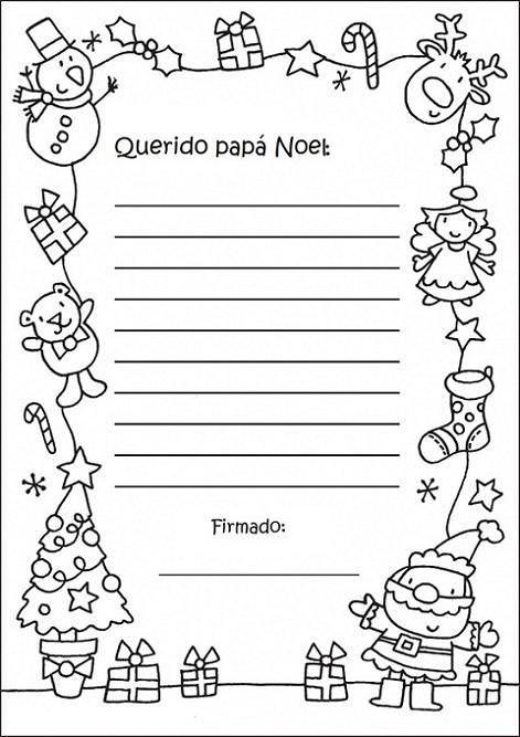Carta Papá Noel para colorear