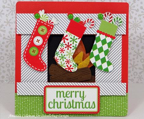 postal casera de chimenea para navidad