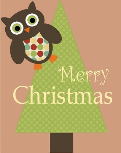 postales de navidad para imprimir buho