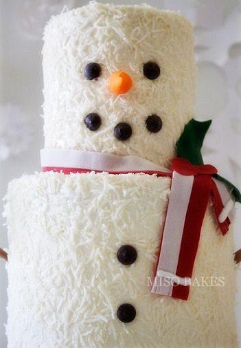 Tarta de Navidad con forma de muñeco de nieve