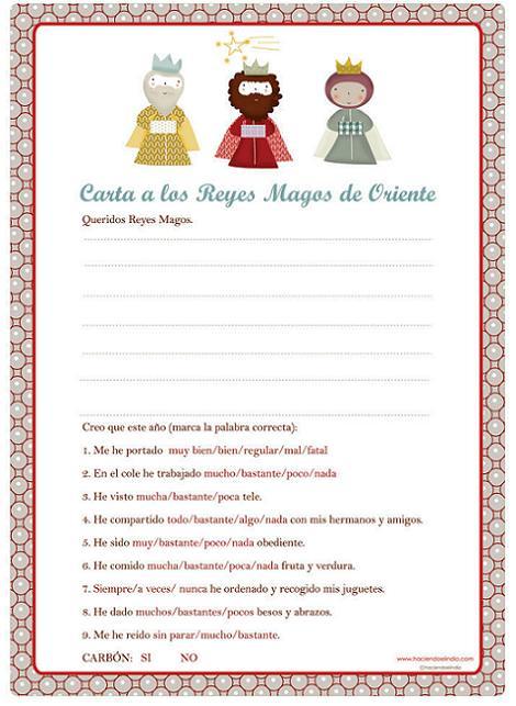 Reyes Magos: carta para imprimir